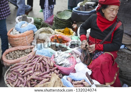 KATHMANDU, NEPAL - JAN 1 : Local people on the street sell local vegetable. The basic branch of economy in Nepal - agriculture (76 % of working population), January 1, 2013 in Kathmandu, Nepal