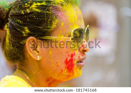 KATHMANDU, NEPAL - MARCH 15, 2014: The Colour Run is part of the Holi Festival celebrations.