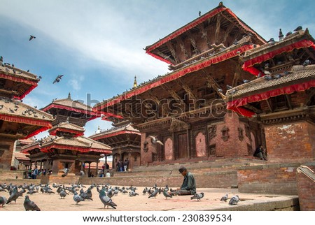 KATHMANDU, NEPAL - MARCH 27, 2013: The famous Durbar square on March, 27, 2013 in Kathmandu, Nepal. - stock photo