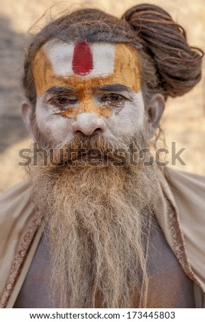 KATHMANDU, NEPAL - NOVEMBER 4: Holy Sadhu men with traditional painted face in Pashupatinath Temple. November 4, 2012 in Nepal, Kathmandu.