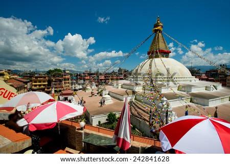 KATHMANDU, NEPAL,  The famous bodhinath temple of Kathmandu. - stock photo