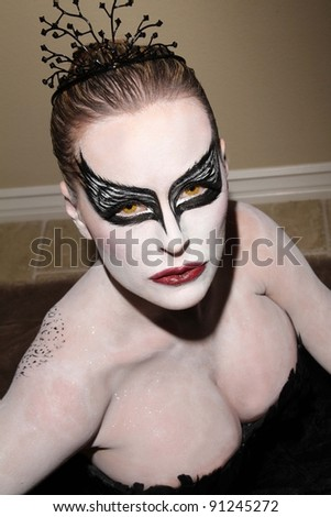 "Katie Lohmann tests out her  ""Black Swan"" Halloween Costume, Private Location, Los Angeles, CA 10-30-11 EXCLUSIVE"