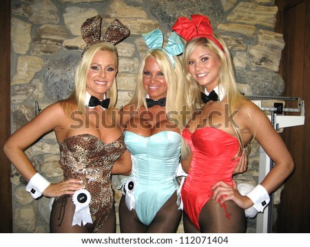 Katie Lohmann, Tina Jordan and Amanda Paige at the Milwaukee's Best Party, Playboy Mansion, Beverly Hills, CA 03-08-07 - stock photo