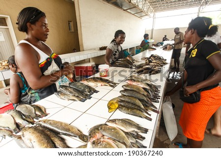 KATIMA MULILO, NAMIBIA - OCTOBER 16 2013: Fish market manages to survive a year of drought in the North Eastern town of Katima Mulilo in Namibia, Africa - stock photo