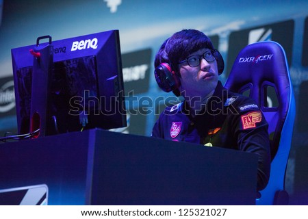 KATOWICE, POLAND - JANUARY 20: StarCraft 2 player at Intel Extreme Masters 2013 - Electronic Sports World Cup on January 20, 2013 in Katowice, Silesia, Poland.
