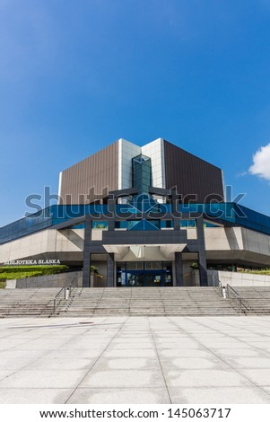 KATOWICE, POLAND - JULY 07: The Silesian Library in Katowice on July 07, 2013. One of the most modern public libraries in Poland with a scientific status, has in its possessions over 2 000 000 volumes