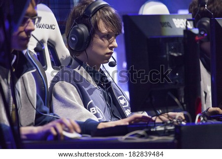KATOWICE, POLAND - MARCH 16: Diamond from Gambit Gaming at Intel Extreme Masters 2014 (IEM) - Electronic Sports World Cup on March 16, 2014 in Katowice, Silesia, Poland. - stock photo