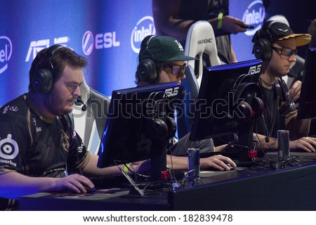 KATOWICE, POLAND - MARCH 16: Ninjas in Pyjamas at Intel Extreme Masters 2014 (IEM) - Electronic Sports World Cup on March 16, 2014 in Katowice, Silesia, Poland. - stock photo