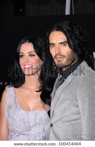 """Katy Perry and Russell Brand  at """"The Tempest"""" Los Angeles Premiere, El Capitan, Hollywood, CA. 12-06-10 - stock photo"""
