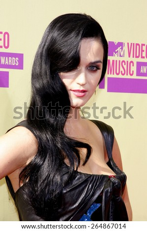 Katy Perry at the 2012 MTV Video Music Awards held at the Staples Center in Los Angeles, United States on September 6, 2012.  - stock photo