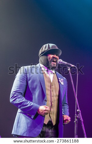"KAUNAS, LITHUANIA - APRIL 26, 2015: Grammy winner jazz singer Gregory Porter performs at the stage of ""Kaunas Jazz"" festival."