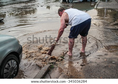 KAUNAS, LITHUANIA - AUGUST 8, 2014: Flooding in the streets after heavy rain