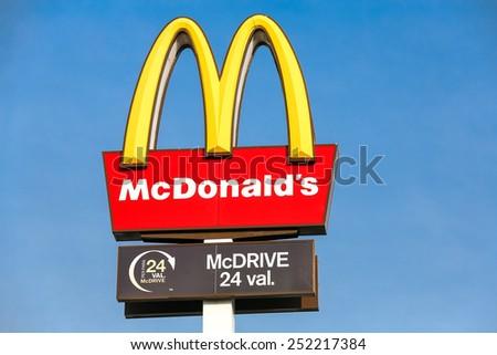 KAUNAS, LITHUANIA - FEB 03: McDonald's restaurant logo on February 3, 2015 in Kaunas, Lithuania. McDonald's is the main fast-food restaurant. - stock photo