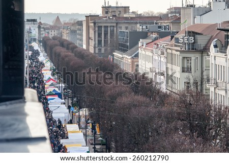 KAUNAS, LITHUANIA - MARCH 13: Aerial view of traditional crafts fair - KAZIMIERAS fair in Kaunas on March 13, 2015, Kaunas, Lithuania.