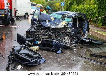 KAUNAS, LITHUANIA  - SEPTEMBER 7, 2015: Total car crash