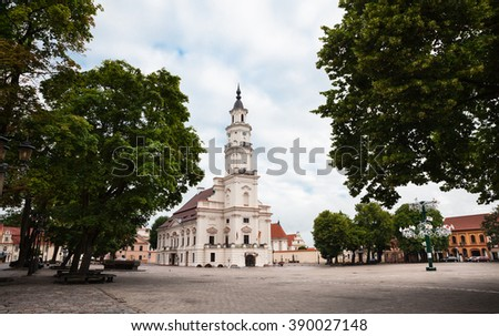 KAUNAS, LITHUANIAN - Jul, 12, 2015: View of City Hall in old town. There are a lot of surviving Gothic, Renaissance and Baroque buildings in Kaunas old town