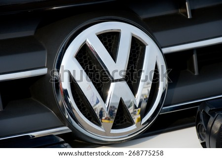 KAUNAS-MAR 26: Close-up of VW logo on Mar. 26, 2015 in Kaunas, Lithuania. Volkswagen is a German automobile manufacturer and the biggest German automaker and the third largest automaker in the world. - stock photo