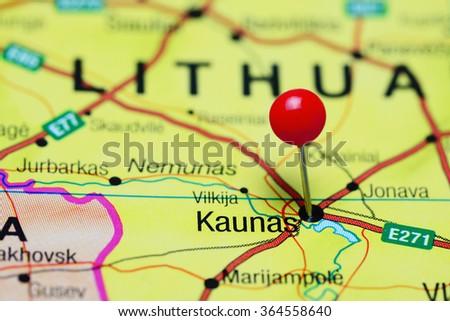 Kaunas pinned on a map of Lithuania  - stock photo