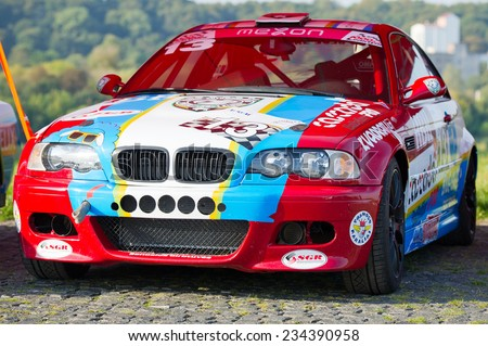 KAUNAS SEP 19: BMW E46 M3 sports-rally car on Sep. 19, 2014 in Kaunas, Lithuania. The BMW M3 is a high-performance version of the BMW 3-Series, developed by BMW's in-house motorsport division, BMW M. - stock photo