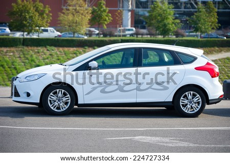 KAUNAS - SEP 19: Ford Focus on Sep. 19, 2014 in Kaunas, Lithuania. The Ford Focus is a compact car (C-segment in Europe) manufactured by the Ford Motor Company since 1998. - stock photo