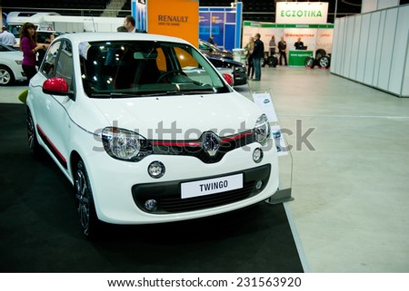 KAUNAS - SEP 19: Renault Twingo on Sep. 19, 2014 in Kaunas, Lithuania. The Renault Twingo is a four passenger city car manufactured and marketed by French automaker Renault. - stock photo
