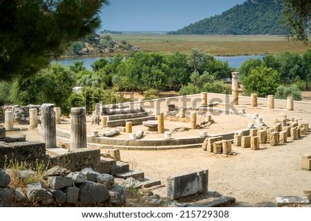 Kaunos ancient city in Dalyan valley, Turkey - stock photo