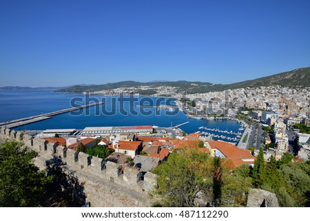 KAVALA, GREECE - AUGUST 15: Cityscape with old medieval fortress, landmark in the city in East Macedonia, on August 15, 2016 in Kavala, Greece