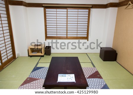 KAWAGUCHIKO, JAPAN - APRIL 12 : The traditional Japanese-style rooms for tourist travel to kawaguchiko on April 12, 2016.
