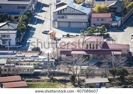 KAWAGUCHIKO, JAPAN - FEBRUARY 19, 2016 : cityscape of Shimoyoshida from viewpoint, village