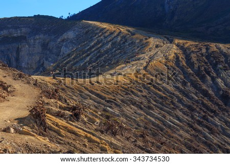 Kawah Ijen Crater Volcano, East Java, Indonesia - stock photo