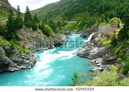 Kawarau river and forest ,Queenstown, New Zealand - stock photo