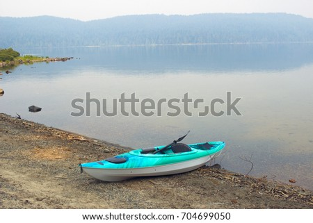 Kayak at a beach of Lake in Camping ground
