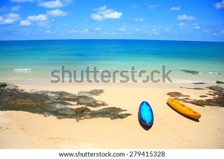 kayak boat and sea - stock photo