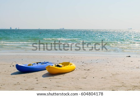 kayak boat on the beach at chonburi