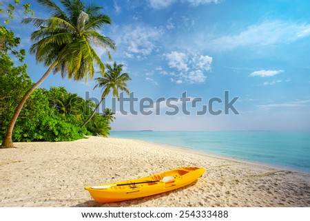 Kayak on sunny tropical beach with palm trees on Maldives - stock photo