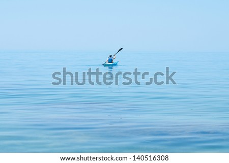 Kayak. People kayaking in the ocean. Active people. Sport and recreation - stock photo