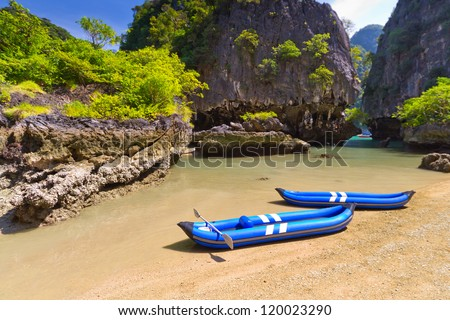 Kayak trip to the island on Phang Nga Bay, Thailand - stock photo
