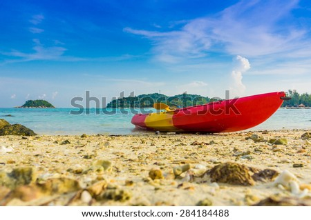 Kayak with blue sky at Lipe island in Satun Thailand, Kayak for recreation and leisure. - stock photo