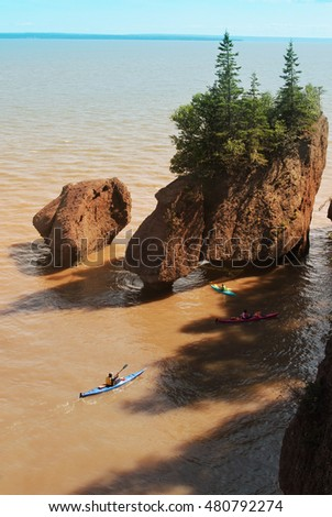 Kayakers at Hopewell Rocks in the Bay of Fundy, New Brunswick, Canada in the muddy water at high tide