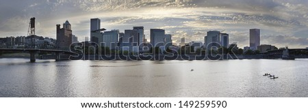 Kayaking Along the Willamette River in Portland Oregon Downtown Waterfront Panorama - stock photo