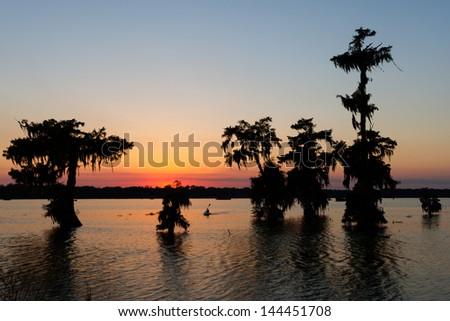 Kayaking at sunset on Lake Martin, Breaux Bridge, Louisiana. - stock photo