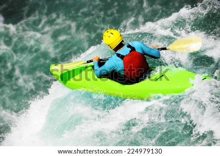 Kayaking, extreme fall - stock photo