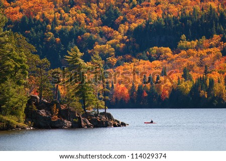 Kayaking in Algonquin Provincial park, Ontario, Canada - stock photo