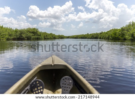Kayaking in Everglades national park, Florida, USA - stock photo