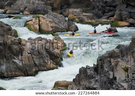 Kayaking in Great Falls National Park, Virginia - stock photo