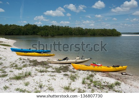 Kayaking in the Ten Thousand Islands in Florida. - stock photo