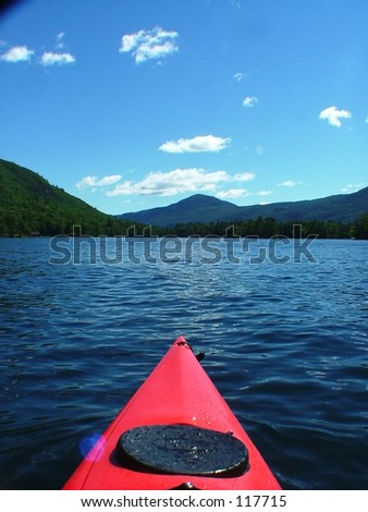 Kayaking on a lake.