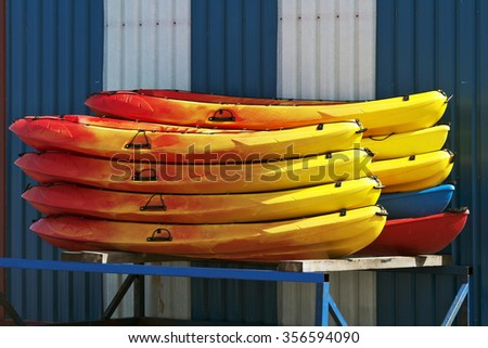 kayaks at the marina port - stock photo