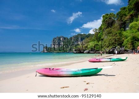 Kayaks at the tropical beach, Krabi, Thailand - stock photo