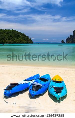 kayaks at the tropical beach Phi Phi Thailand - stock photo